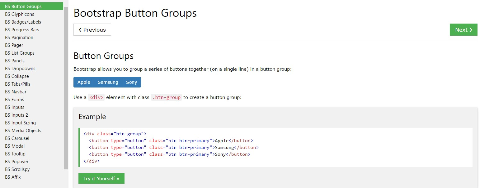 Bootstrap button group  training